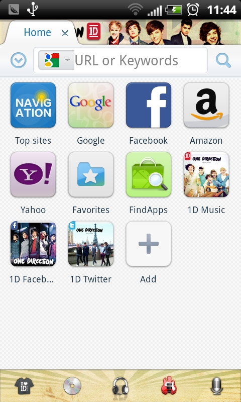 1D skin for Maxthon Mobile Android